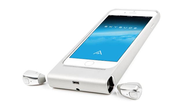 【Kickstarter】iPhone6/6sケースと一体型になり、1本のケーブルで同時に充電できるワイヤレスイヤホン「Skybuds」