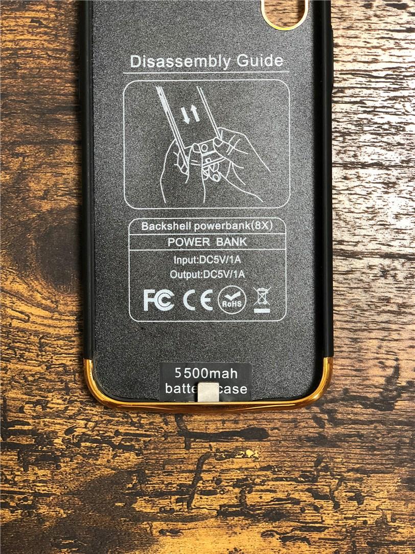TECHY 5500mah スリムバッテリー内臓ケース パワーバンクの充電端子