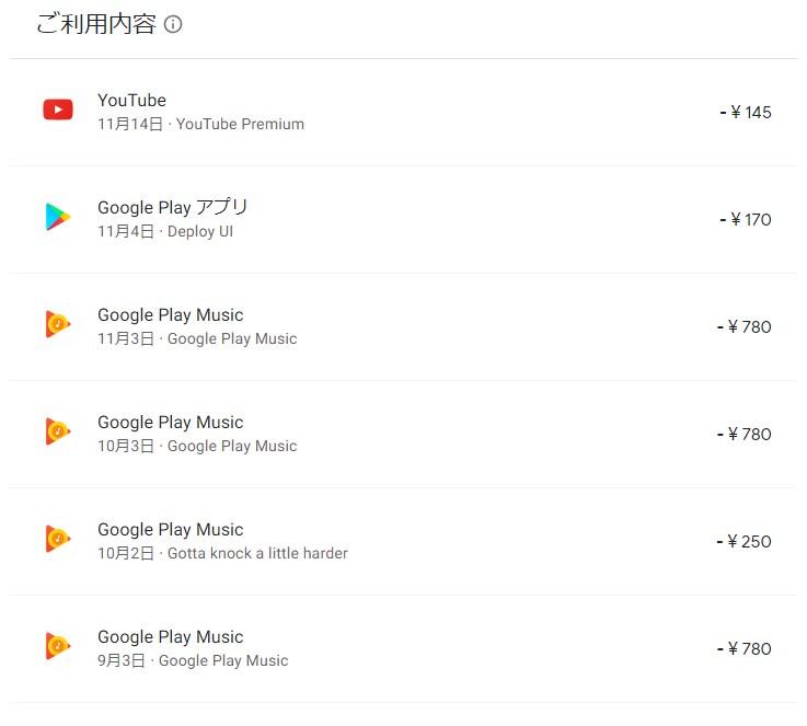 GooglePlayMusicの請求金額