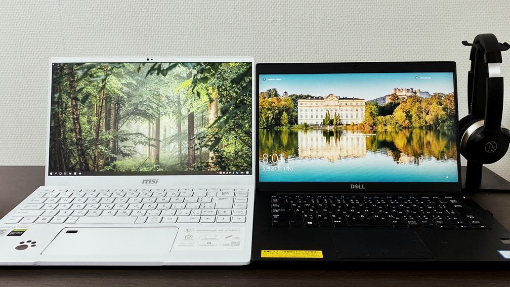 MSI Prestige 14の画面サイズ比較-Dellと
