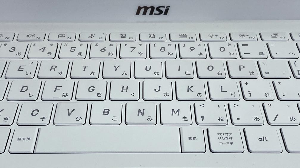 MSI Prestige 14 のキーボードバックライトを消したところ