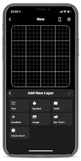 iOSアプリ「Widgy」のエディタ画面
